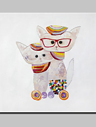 lager Hand moderne abstrakte dr gemalt. Katze Tierölgemälde auf Kunst-Bild Whit Rahmen 100x100cm Leinwand Wand
