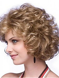 8 inch Women Long Curly Wave Curly Synthetic Hair Wig Light Brown with Free Hair Net