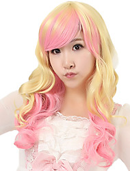 18 inch Women Long Body Wave Synthetic Hair Wig Blonde Ombre Light Pink with Free Hair Net