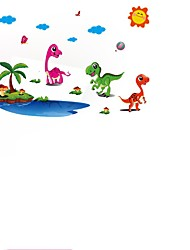 3D Cartoon Animal Dinosaur Coconut Trees Wall Stickers Decoration Diy Stickers Removable