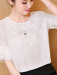 Women's Patchwork Pink / White Fashion Chiffon Blouse,Casual Cut Out Flower Ruffle Flare Sleeve Polyester