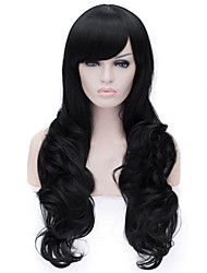 The New 28 Inch Long Curly Wig Black Side  Hair Wigs