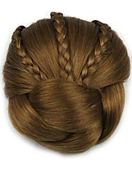 Kinky Curly Brown Braid Lady Human Hair Weaves Chignons 2005
