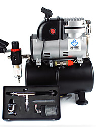 OPHIR Single Cylinder Piston Compressor with Air Tank &Extra Fan 0.3mm Airbrush Kit For Cake Decoration Temporary Tattoo