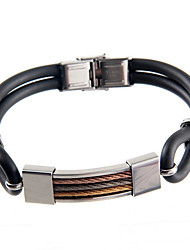 Cool Man  Leather Bracelets With silicon Charm Design Bangles for Men