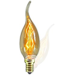E14 AC220-240V 40W Silk Carbon Filament Incandescent Light Bulbs C35L Around Pearl