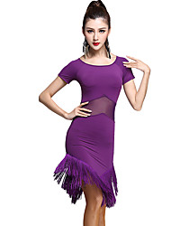 Latin Dance Dresses Women's Training Rayon Tassel(s) 2 Pieces Black / Purple Latin Dance Short Sleeve Natural Dress / Shorts