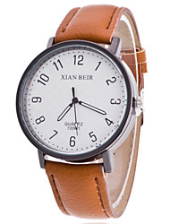Women/Men's Leather Band Analog White Case  Wrist Watch Jewelry