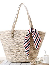 STYLE-CICIWomen-Casual-Straw-Shoulder Bag-White