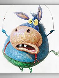 óleo pintados à mão animais animal pintura engraçado na corda de pular com moldura esticada