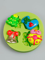 Cake Tools Christmas Tree Gift Bell Silicone Mold for Cake Decorating Cupcake Candy Chocolate Soap Clay Fimo Resin