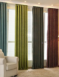Two Panels Modern Stripe Chenille Blackout Curtains Drapes Green Purple Blue