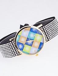 montre décontractée dames lorsque la grille de couleur toile genève cadran avec une corde de montre en diamant anglais