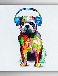 Hand Painted Oil Painting Animal Dogs with Blue Headset with Stretched Frame 7 Wall Arts®
