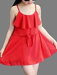 Vestido Chica deUn Color-Poliéster-Verano-Rosa / Rojo / Amarillo