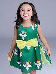 Girl's Green Dress,Floral Cotton Summer / Spring / Fall