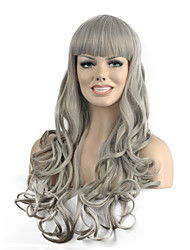 Natural long Gray Color Popular Wave Synthetic Wig For Woman