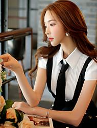 Women's Color Block White Shirt,Shirt Collar Short Sleeve