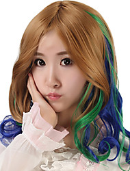 18 inch Women Long Body Wave Synthetic Hair Wig Multicolor Brown Green Blue with Free Hair Net