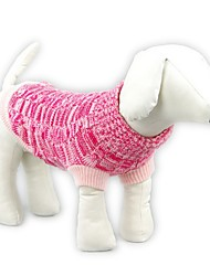 Cat / Dog Sweater Blue / Pink Dog Clothes Winter / Spring/Fall Solid Casual/Daily / Keep Warm