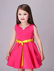 Girl's Pink / Red Dress,Color Block Rayon Summer / Spring / Fall