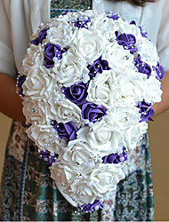 Purple With White Rose Bridal Bouquet and Groom Boutonniere Royal Waterfall Drape Happy Bride's Bouquet