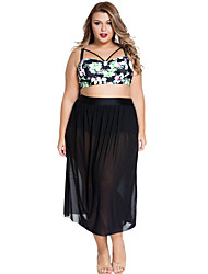 Women's  Plus Size Boho Tropical High Waist Bikini with Skirt