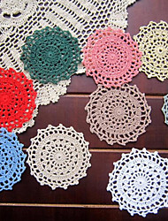 10cm Shabby Chic Floral Theme Decoration Felt Placemats Colored Fabric Cotton Doilies Round Placemats 20pcs Per Set