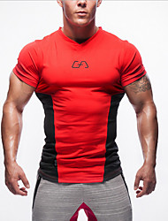 Running Tops Men's Short Sleeve Breathable / Wearable Golf / Running Sports Sports Wear Red Summer M / L / XL / XXL