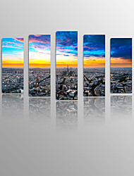 Sunrise Paris France Eiffel Tower on Canvas wood Framed 5 Panels Ready to hang for Living Decor