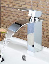 Stylish Single Handle Chrome Waterfall Bathroom Sink Faucet