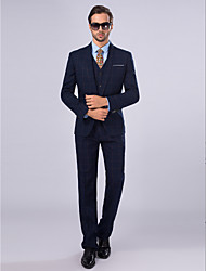 Suits Slim Fit Shawl Collar Single Breasted One-button 3 Pieces Dark Navy Straight Piped