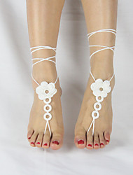 Women's Handmade Flower Beach Wear Loop Ring Crochet Anklet Barefoot Sandals