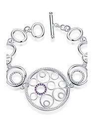 Bracelet Chaînes & Bracelets Zircon / Plaqué argent Mariage / Soirée / Quotidien / Décontracté Bijoux Cadeau Argent / Violet,1pc