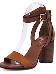 Women's Summer Platform Comfort PU Office & Career Casual Chunky Heel Buckle Hook & Loop Black Brown