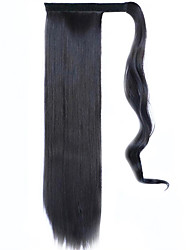 Black 60CM Synthetic High Temperature Wire Wig Straight Hair Ponytail Color 99J