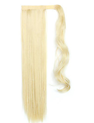 Yellow Length 60CM The New Velcro Mixed Color Long Straight Air Wig Horsetail(Color 12/613)