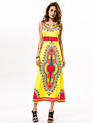 Women's Vintage / Boho National Style Classic Print Hollow Out Sheath / Swing Dress,Round Neck Maxi