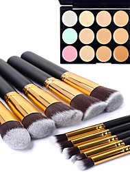 10PCS Professional Gold Tube Black Handle Cosmetic Makeup Brush Set and 15 Colors Face Contour Concealer