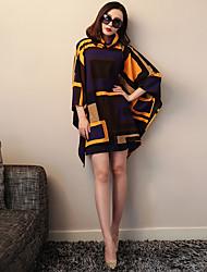 VERRAGEE® Mujer Escote Chino Manga 3/4 Moda poncho y cabos Multi-L085