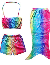 Girl's Red Swimwear,Thress Pieces Sets Mermaid Color Block Polyester Summer
