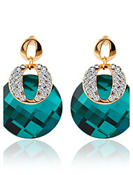 Korean Version Of The Trend Of High-grade Green Zircon Crystal Gemstone Earrings Fashion Dinner Accessories