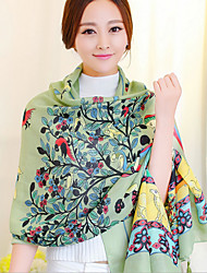 Long Wishing Tree Green Printing Cotton Twill Scarves Fringed Shawl