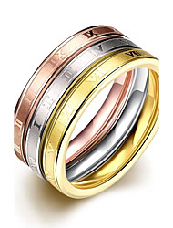 lureme® Vintage Classic Tricolor Stainless Steel with Roman Numbers Womens Girls Rings 3 Pcs A Set
