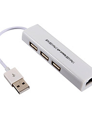 USB 2.0 de 3 portas / interface do adaptador usb hub Gigabit Ethernet 10 / 100Mbps 7.7 * 3.8 * 1.4