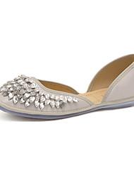 Calçados Femininos-Sapatilhas-Bico Quadrado-Rasteiro-Preto / Cinza-Courino-Casual