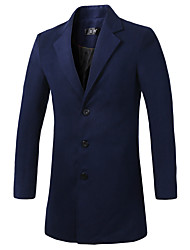 Men's Striped Casual Trench coat,Cotton Long Sleeve-Black / Blue