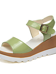 Women's Shoes PU Wedge Heel Wedges / Open Toe Sandals Outdoor / Dress / Casual Green / Pink / White