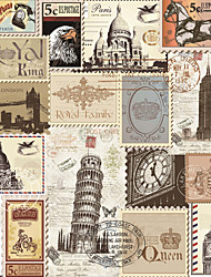 JAMMORY Art Deco Wallpaper Retro Wall Covering,Canvas Famous Buildings Stamps Wall