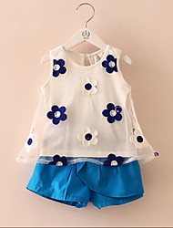 2016 Summer Style Baby Girls Clothing Set Sleeveless Flower Printed Vest+ Pant Kids Chiffon Blouse Clothes Set